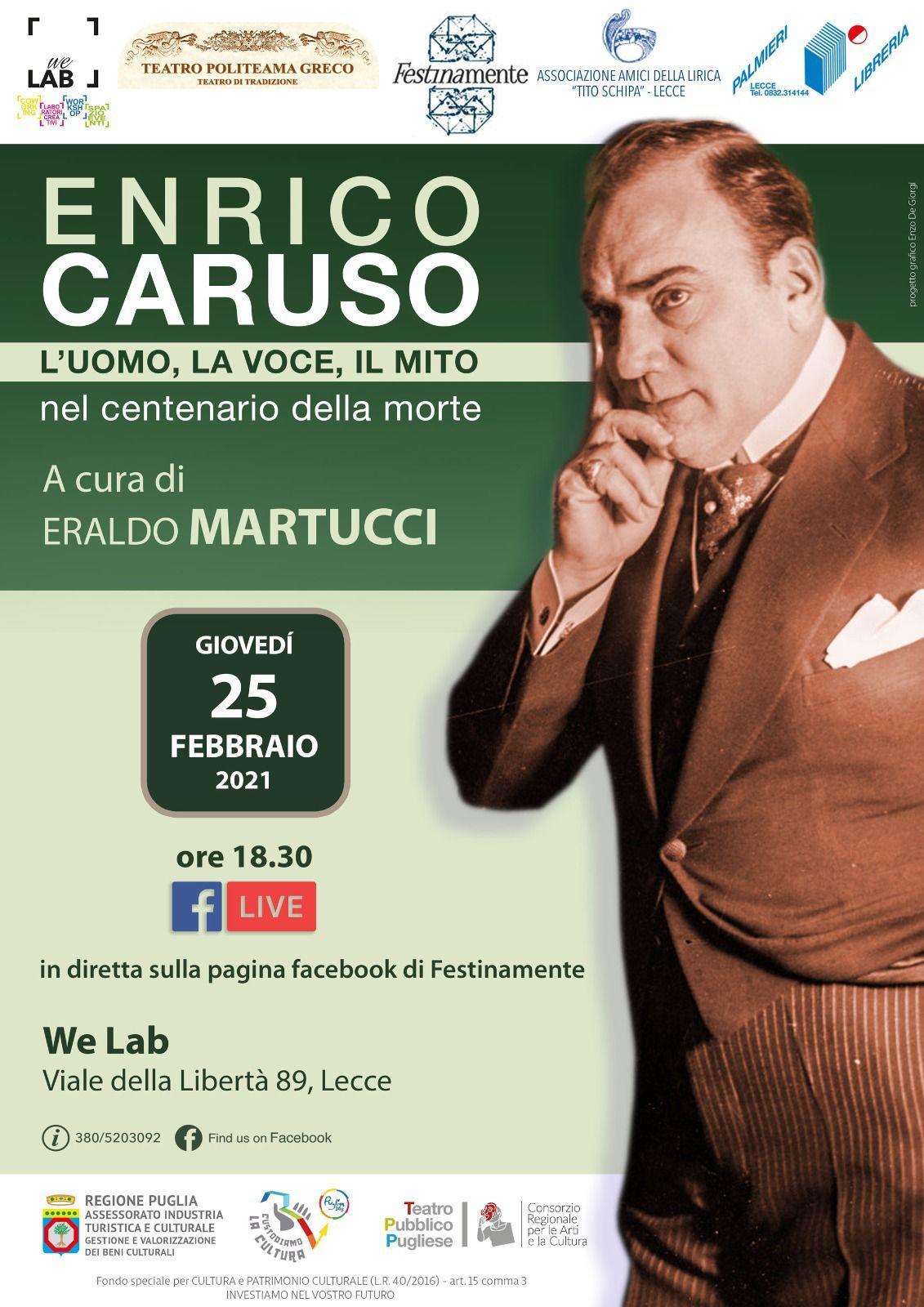 Festinamente e We Lab, conferenza online su Enrico Caruso