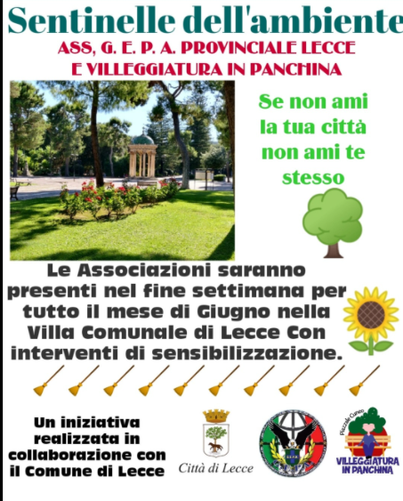Villa comunale a Lecce, nei weekend di giugno passeggiate ecologiche con Gepa e Villeggiatura in panchina