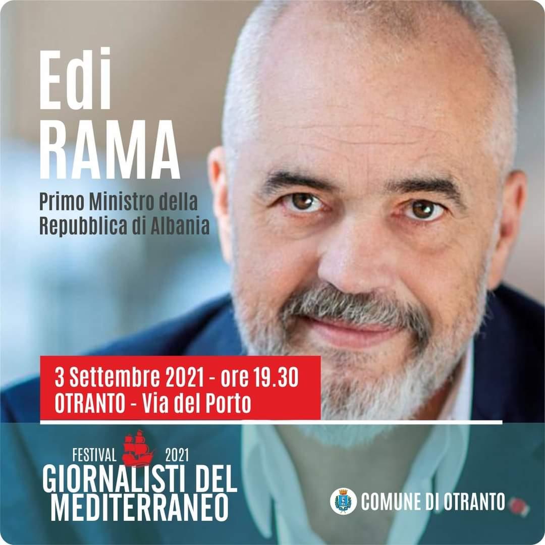 Festival Giornalisti del Mediterraneo, a Otranto il premier albanese Edi Rama: il ricordo del naufragio della Katër i Radës