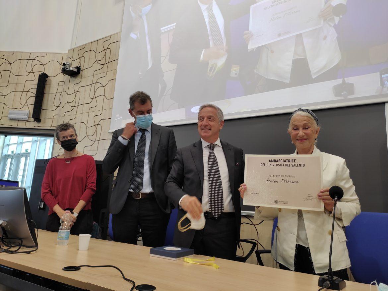 Al premio Oscar Helen Mirren il titolo di Ambasciatrice dell'Università del Salento